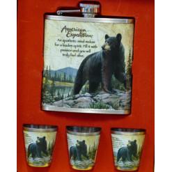 Flaska 3db pohárral (Feketemedve)